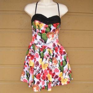 HELL BUNNY Dress, M, Dia Da Los Muertos, Strappy